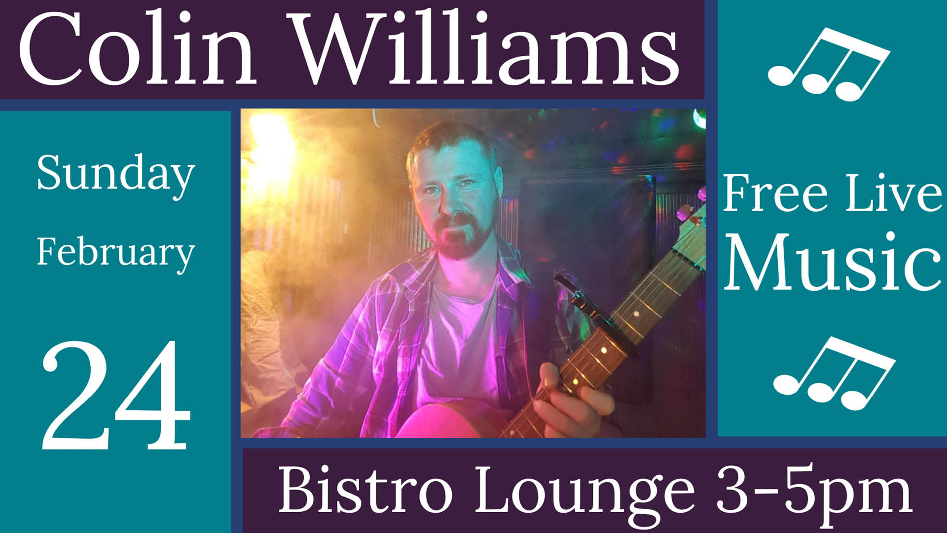 Colin Williams Live Music Sunday 24th February